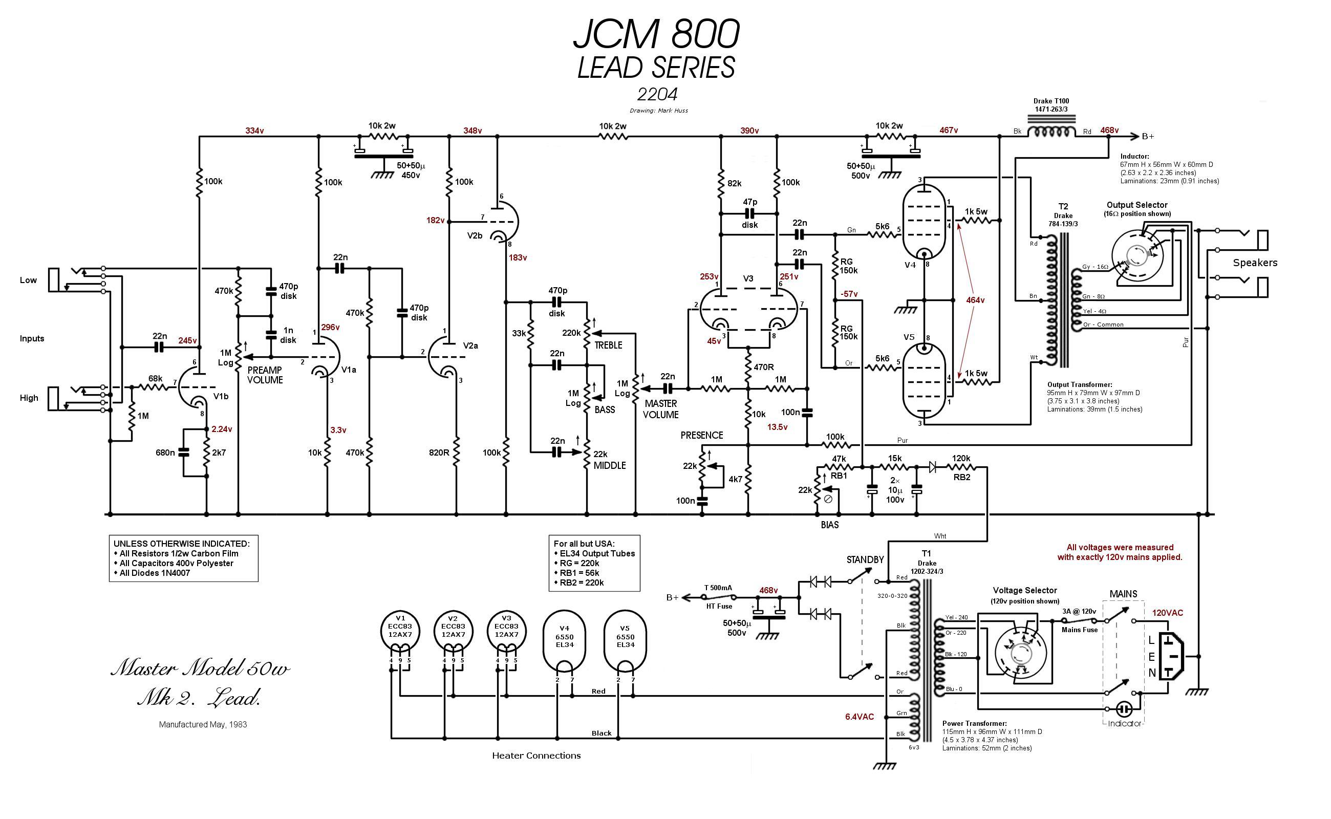 elektronika lt  u201emarshall jcm 800 2204 u201c marshall cab wiring diagram marshall footswitch wiring diagram