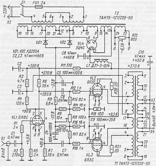 2 pav. parodyta galingesnio dvitakčio ultralinijinio garso dažnių galios stiprintuvo schema, kuriam išėjimo kaskadoje galima rekomenduoti lempas 6П3С, 6П3С-Е, 6L6G, 5881.