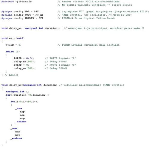 PIC šeimos mikrovaldiklių programavimas C kalba