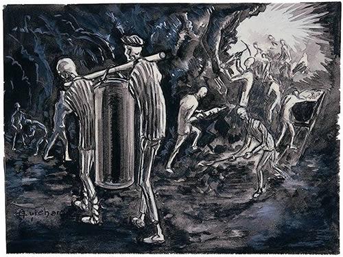 Piešinys, kuriame vaizduojami du kaliniai, nešantys indą su geriamuoju vandeniu
