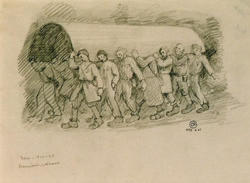Vieno kalinio piešta iliustracija, kurioje pavaizduoti raketos korpusą nešantys belaisviai
