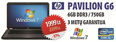 """Nešiojamasis kompiuteris """"HP Pavilion G6"""" – už patrauklią kainą"""
