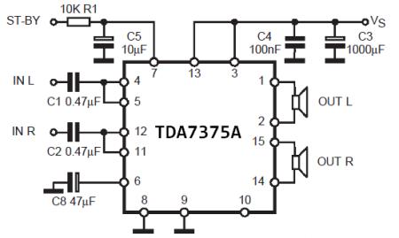 Garso stiprintuvas su TDA7375A 2x26 W