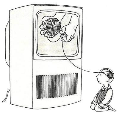 Ką vaikai dedasi į galvą žiūrėdami TV?