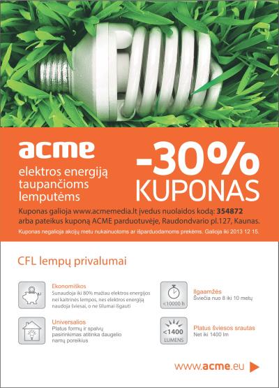 30 proc. nuolaida visoms lemputėms! Sumažinkite išlaidas elektros energijai