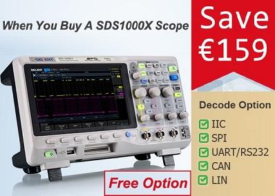 Nemokamas nuoseklių sąsajų dekoderis su kiekvienu SDS1000X serijos osciloskopu