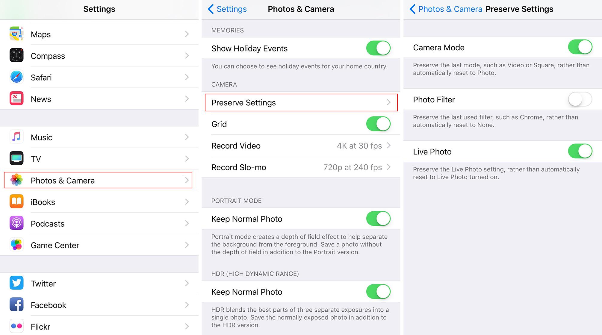 """Kaip """"iOS"""" nurodyti """"Camera"""" programai įsiminti nustatymus"""