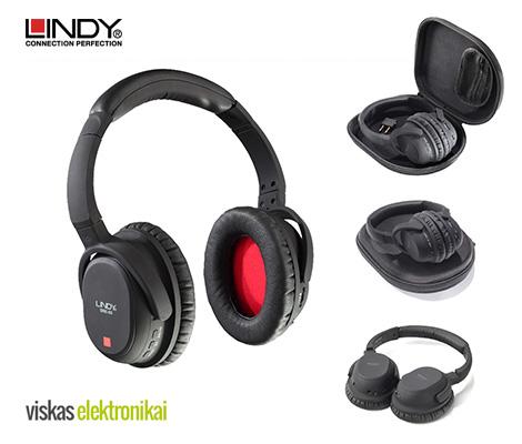 """Belaidės triukšmą pašalinančios ausinės """"LINDY BNX-60"""". Įsigykite dabar su 25 % nuolaida!"""