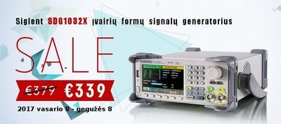 2-jų kanalų laisvos formos ir funkcinių signalų generatorius SDG1032X už 339 €