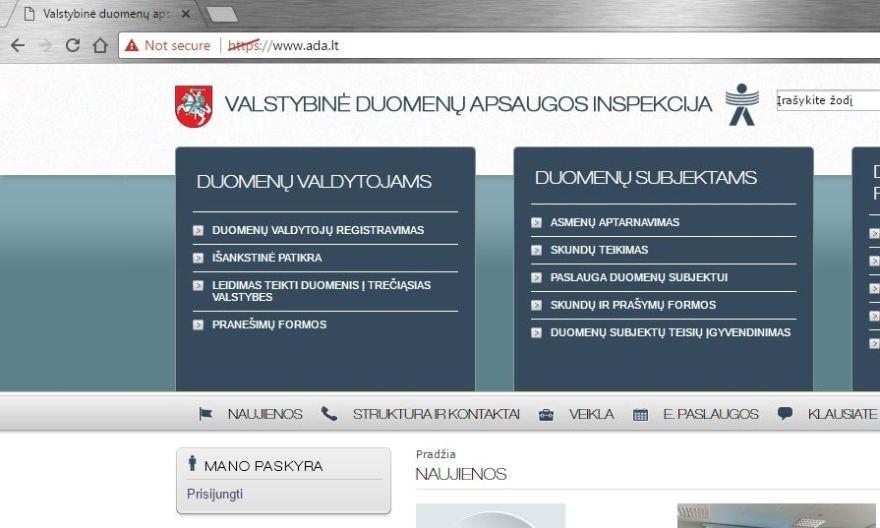 Asmens duomenų apsaugos svetainė – be asmens duomenų apsaugos