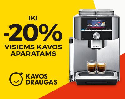Visiems kavos aparatams nuolaida iki 20 %!