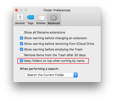 """Kaip """"macOS Sierra"""" rūšiuoti failus, kad aplankai būtų viršuje"""