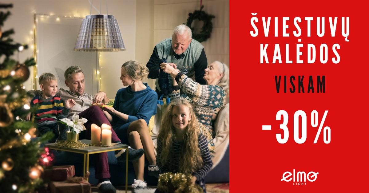Nuolaidos visiems šviestuvams net – 30 %! Tikros šviestuvų Kalėdos!