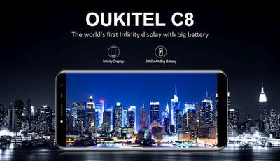 """Įspūdinga nuolaida """"Oukitel C8"""" biudžetiniam telefonui su 5,5"""" ekranu ir 18:9 kraštinių santykiu"""