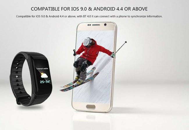 """""""F1 Plus Smart Wristband"""" su spalvotu ekranu, IP67 reitingu ir net kraujo spaudimo matavimu – už 16,99 dolerio!"""