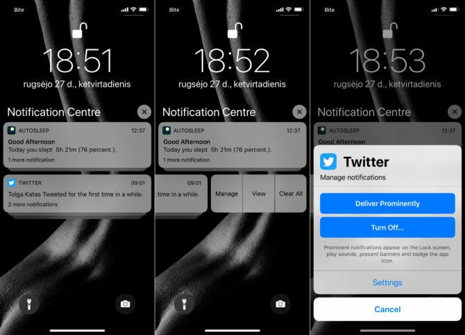 """Kaip laikinai išjungti pranešimus užrakinto """"iOS 12"""" įrenginio ekrane"""