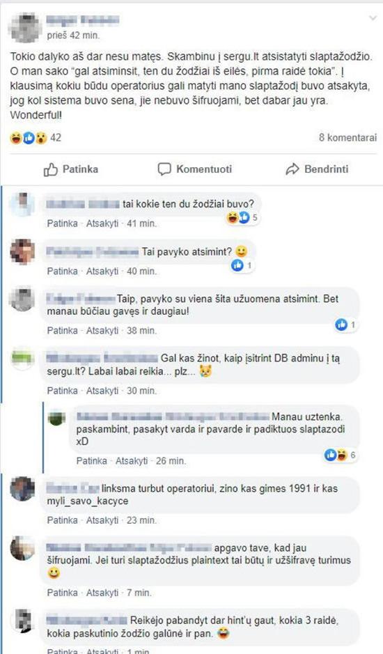 """Facebook"" iliustr. / Diskusija apie Sergu.lt veikimo kuriozus"