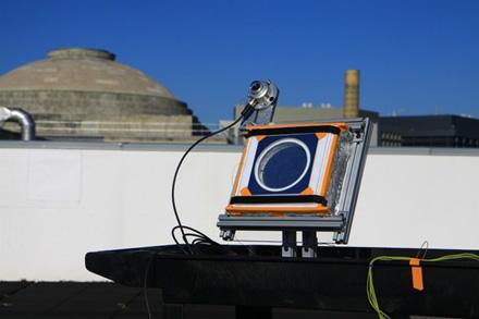 MIT inžinierių testuotas saulės kolektorius su naujuoju aerogeliu © MIT