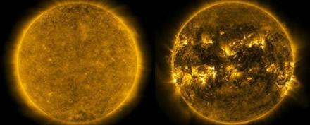 Saulės minimumas (kairėje) ir maksimumas (dešinėje)