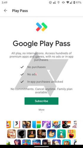 """Android Police"" iliustr. / ""Google Play Pass"" paslauga"