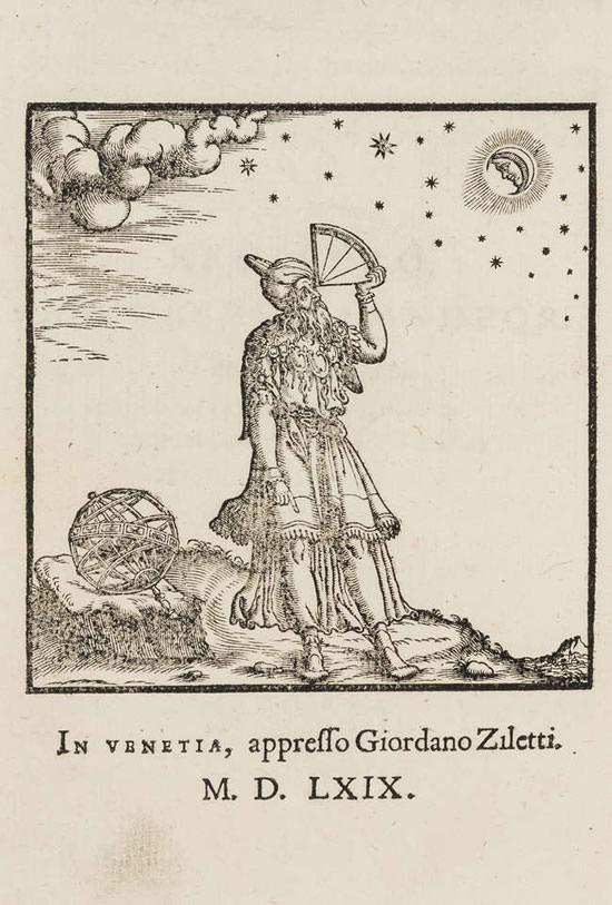 """Astronomas sekstantu matuoja geografinę platumą. Graviūra iš 1570 metais išleistos knygos. © """"Forum Auctions"""""""