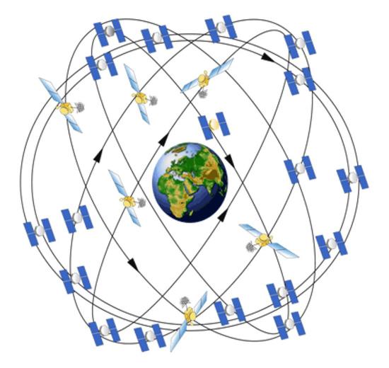 31 GPS palydovo tinklas supa visą Žemę. Bet kuriuo metu bet kuriame Žemės taške matomi bent septyni palydovai, užtikrinantys tikslų padėties nustatymą.© N. Raghu