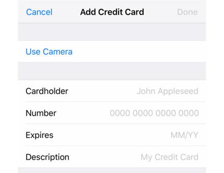 """Kaip įvesti mokėjimo/kredito kortelės informaciją """"iPhone"""""""