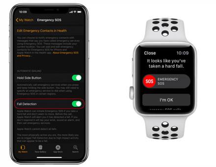 """Nukritimo funkcijos aktyvavimas """"Watch"""" aplikacijoje """"iPhone"""" (kairėje) ir pranešimo langas laikrodyje kai """"Apple Watch"""" aptinka nukritimą (dešinėje)."""