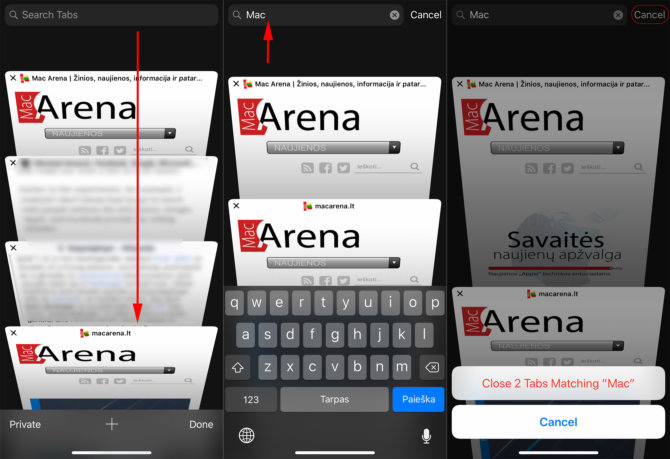 """Kaip uždaryti iš karto kelis atidarytus svetainių langus """"iOS"""" """"Safari"""""""