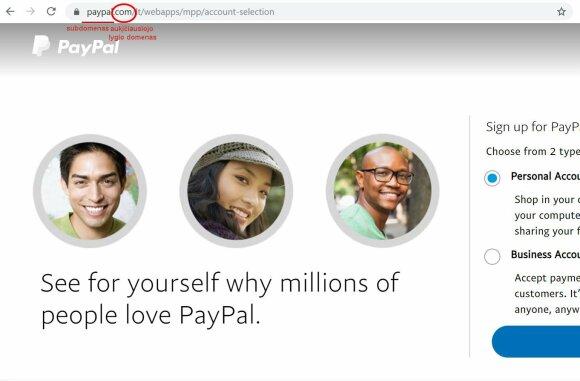 """Tikra """"Paypal"""" svetainė. Ekrano nuotr."""