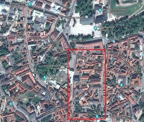 Tiriamasis plotas (raudonas stačiakampis) Vilniaus senamiestyje