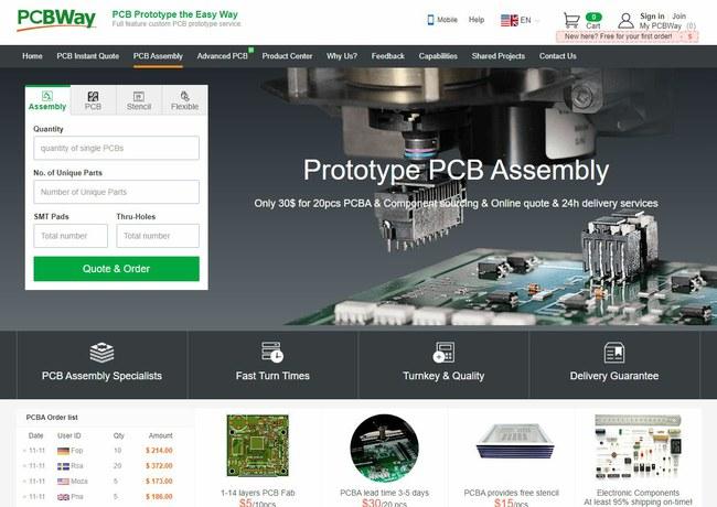 """""""PCBWay"""" galima surinkti tiek plokščių prototipus (gamykla pagamina visus reikiamus šablonus), tiek serijinės gamybos plokštes"""