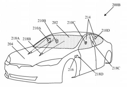 """""""Tesla"""" patente pažymėtos lazerių vietos © Patento atvaizdas"""