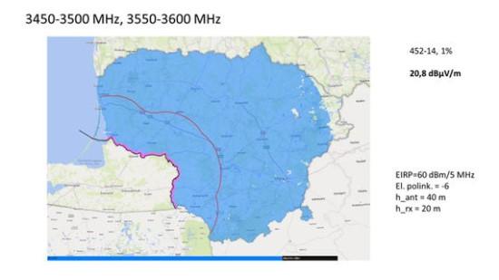 RRT iliustr. / Mėlynai pažymėta teritorija, kurioje pagal dabartinę derybų būseną būtų ribojamas nurodytų parametrų bazinių stočių statymas