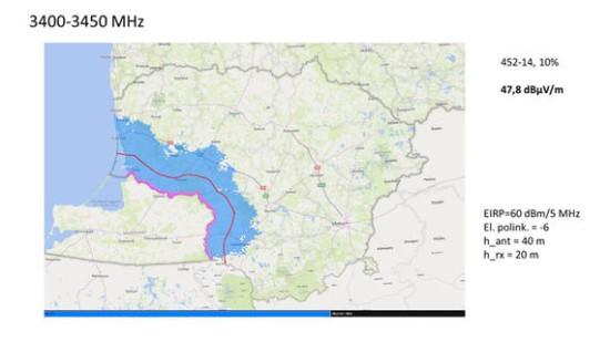 RRT iliustr. / Mėlynai pažymėta teritorija, kurioje pagal dabartinę derybų būseną būtų ribojamas nurodytų parametrų bazinių stočių montavimas