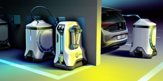 """Visas darbas vyks be žmogaus įsikišimo - robotas ir mobilios stotelės įsikraus patys. ©""""Volkswagen"""" nuotrauka"""