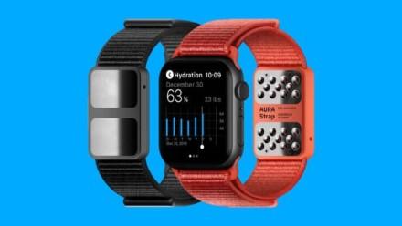 """""""Apple Watch"""" laikrodžiui skirta """"AURA"""" išmanioji apyrankė geba nustatyti žmogaus kūno kompoziciją ir hidratacijos lygį"""