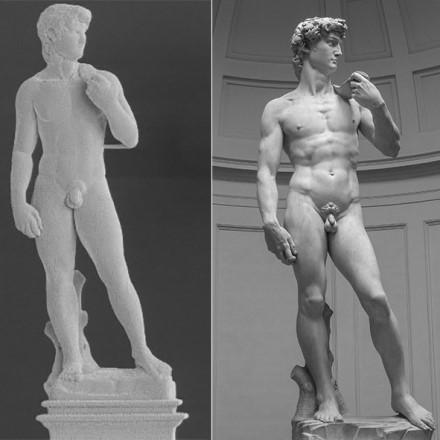 Skulptūros kairė aukštis – 1 mm, o originalo – 517 cm. © Giorgio Ercolano, Exaddon, ETH