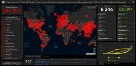 """Vienas plačiausiai naudojamų ir pernaudojamų Coronavirus COVID-19 atvejų pasaulyje žemėlapis, kurį, naudodami """"Esri"""" technologijas, parengė Johns Hopkins universiteto mokslininkai"""