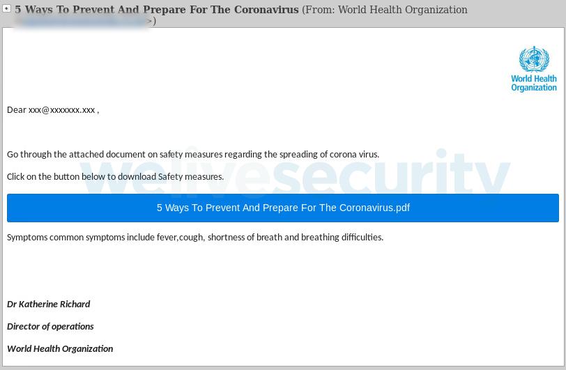 """Apgaulingos naujienos ir """"Phishing"""" atvejai prisidengus """"Pasaulio sveikatos organizacijos"""" vardu"""
