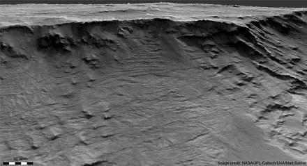 Marso skardis, aiškiai suformuotas prieš 3,7 milijardo metų tekėjusių upių © NASA JPL-Caltech/UoA/Matt Balme/William McMahon