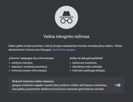 """Naujas """"Google Chrome"""" inkognito langas © Ekrano nuotrauka"""