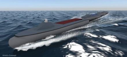 Į eilę išsirikiavę laivai-robotai lengviau įveiks bangų pasipriešinimą © DARPA