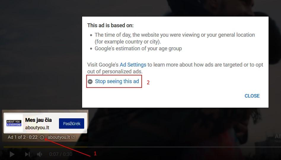 """Kaip blokuoti konkrečias """"Youtube"""" vaizdo reklamas"""
