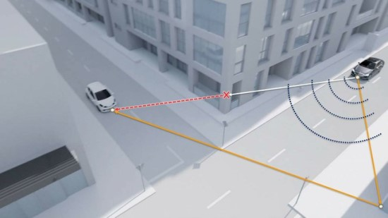 """Dėka tokios sistemos automobilis gebės """"matyti"""" ir už pastatų esantį objektą © Prinstono universitetas"""