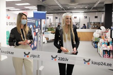 """PC MOLAS valdytoja Virginija Anužė ir parduotuvių vadovė Baltijos šalims Laura Liulienė atidaro """"Pigu.lt"""" parduotuvę"""