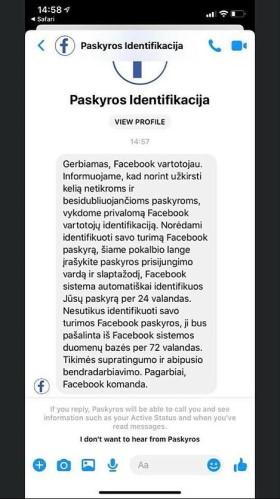 """Žinutė, siunčiama """"Facebook"""" vartotojams / Asmeninio archyvo nuotr."""
