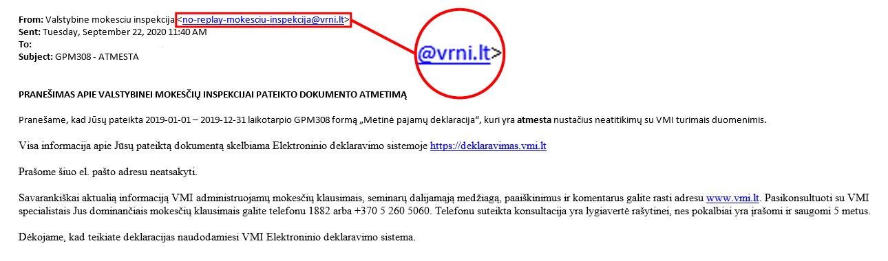 Sukčių siunčiamo laiško prisidengiant VMI vardu pavyzdys