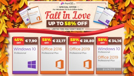 """""""Windows 10 Pro"""" dabar tik 7,90 €, """"Office 2016"""" už 22,17 € iš KeysOff.com!"""