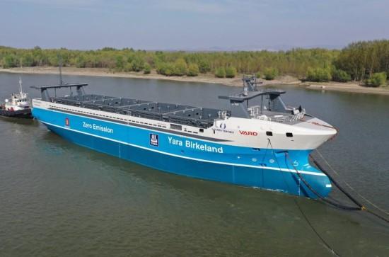"""Gamintojo nuotr. / Autonominis elektrinis krovininis laivas """"Yara Birkeland"""""""
